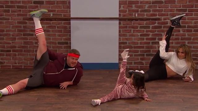 Jennifer Lopez en James Corden krijgen dansles van kinderen