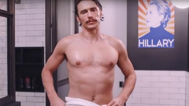 James Franco halfnaakt te zien in reclamefilmpje voor Clinton