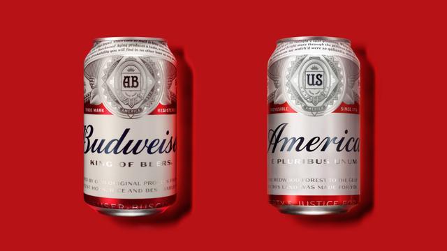 Budweiser verandert naam bier tijdelijk in 'America'