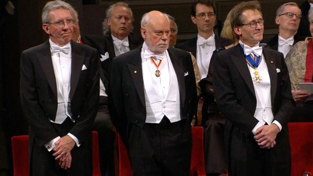 Collega Nobelprijswinnaar Feringa neemt onderscheiding in ontvangst