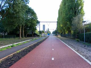Het voormalig spoortraject is getransformeerd tot een fiets- en wandelpark