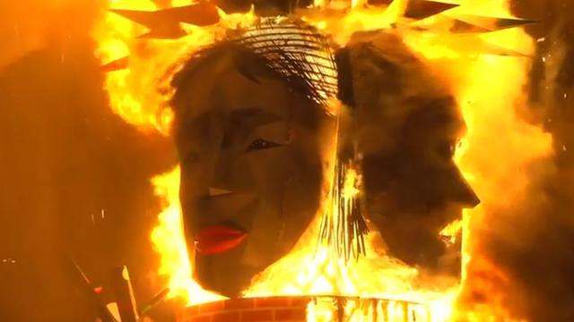 Valencianen zetten sculpturen in brand ter afsluiting van festival