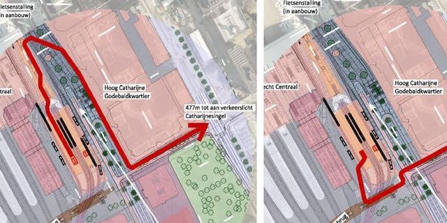 In kaart: de lange looproute vanaf toekomstige tramperrons Utrecht Centraal
