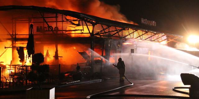 McDonald's in Stadskanaal Groningen verwoest door grote brand