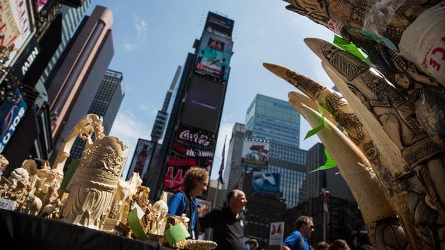 Ruim een ton aan ivoor vernietigd op Times Square in New York