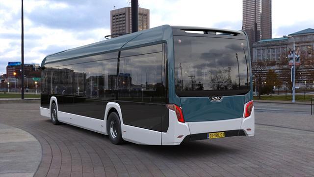 De bus met een zijwand uit één stuk composiet om gewicht te besparen.