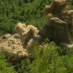 Noord-Korea deelt beelden van ontmanteling kernproeflocatie