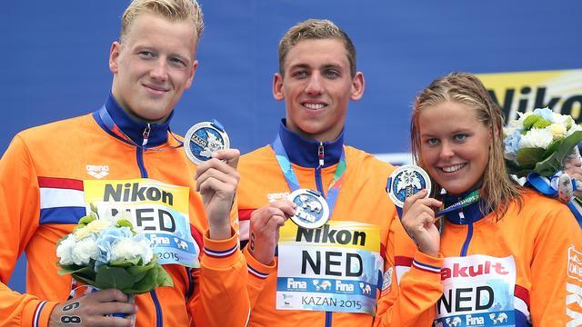Nederlands team pakt gedeeld zilver bij WK open water