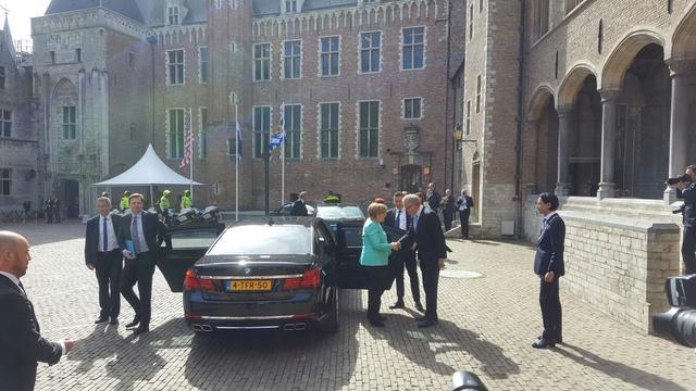 Angela Merkel aangekomen in Middelburg