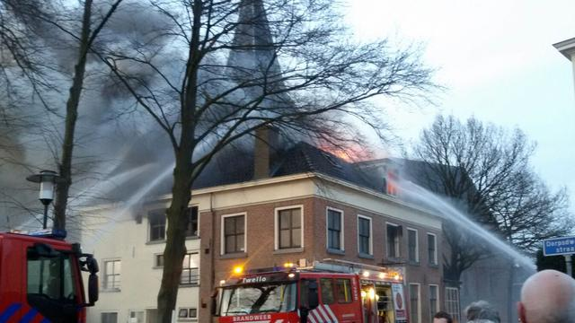 Grote brand in restaurant Twello
