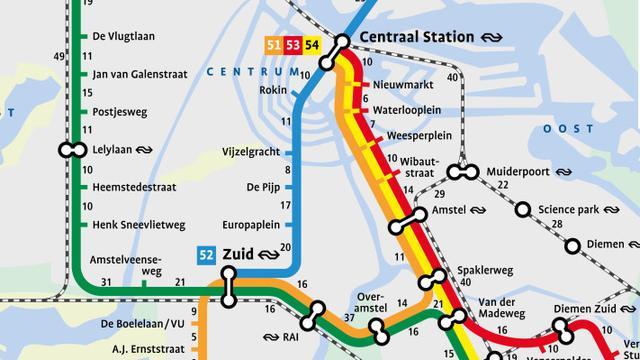 Metrowandelkaart laat looptijden tussen metrostations zien