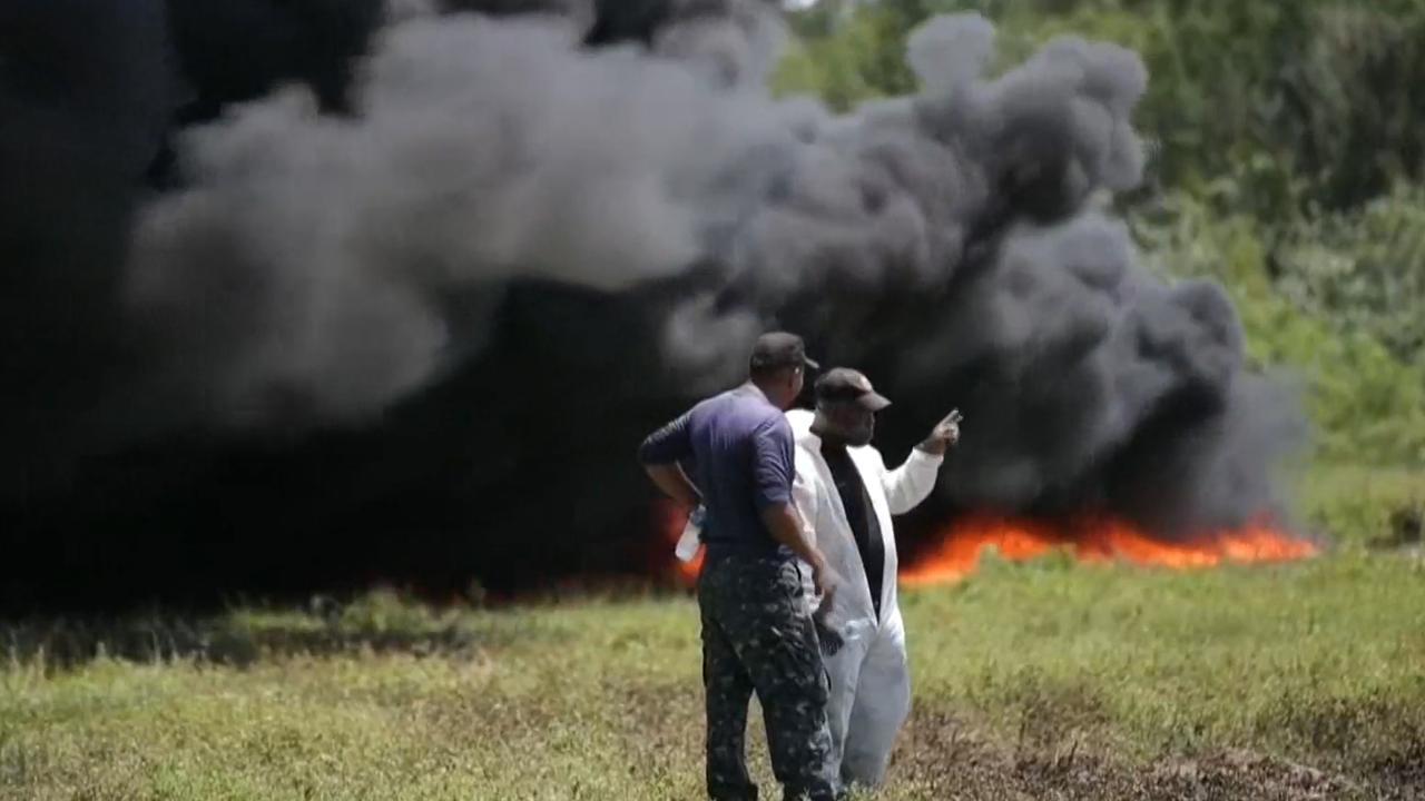Panamese politie verbrandt 26.000 kilo drugs