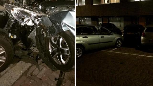 Vluchtende automobilist beschadigt vijf andere voertuigen