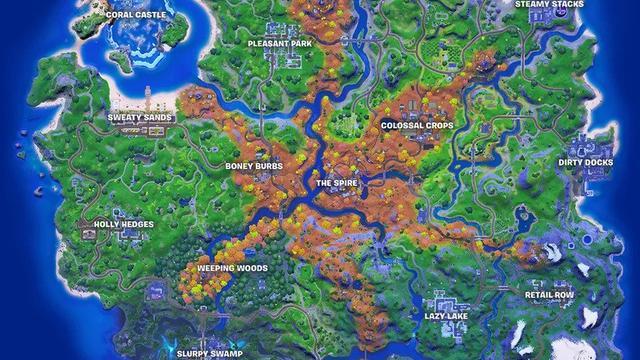 Een kaart van het speeleiland.