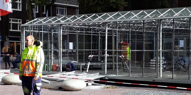 Glazen kas op Domplein beschadigd door wind