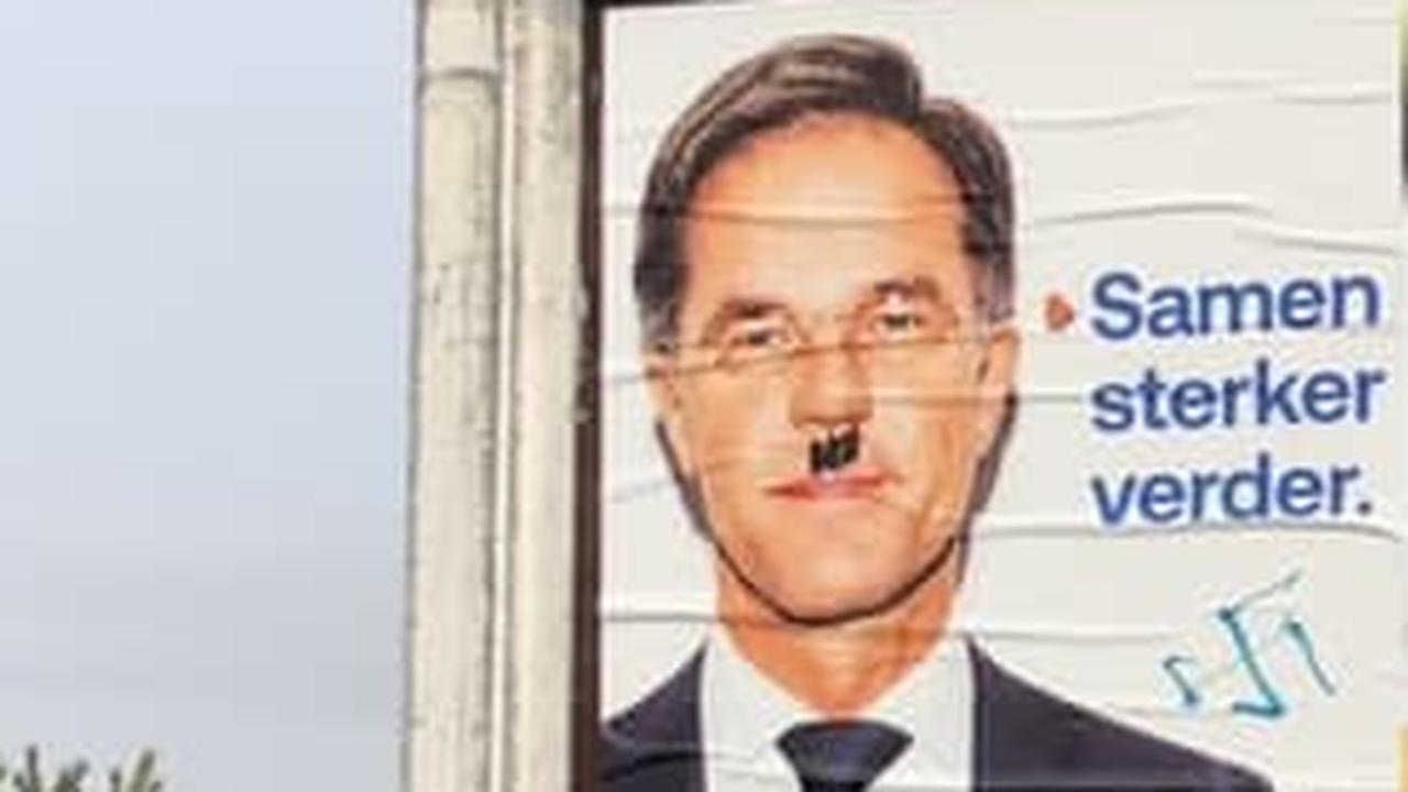 Verkiezingsposters met Rutte vernield en beklad met nazisymbolen - NU.nl