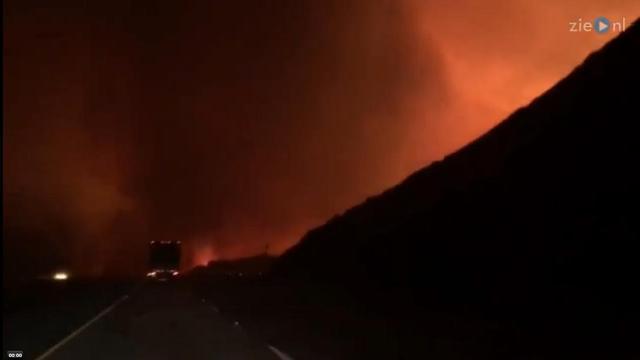 Nederlandse familie filmt vlucht voor bosbranden Californië
