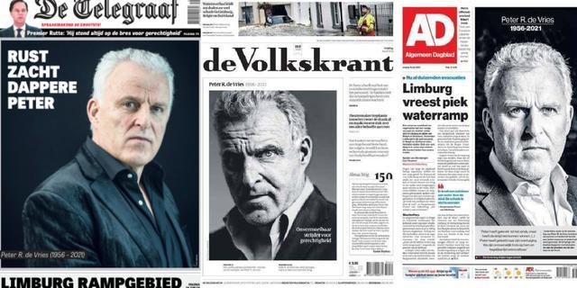 Krantenvoorpagina's staan in teken van overleden Peter R. de Vries