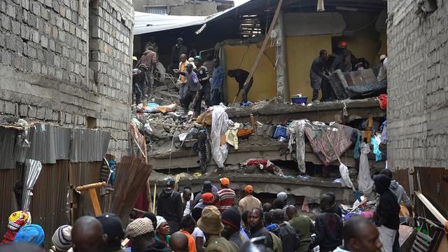 Zoektocht naar overlevenden bij ingestorte flat Nairobi