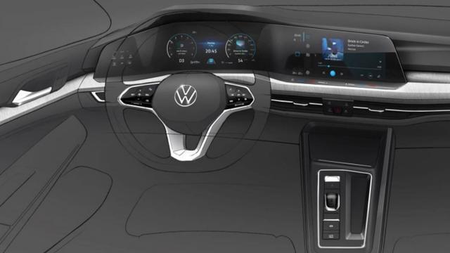Volkswagen geeft schets van interieur nieuwe Golf vrij