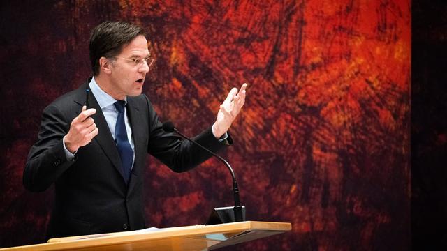 Mark Rutte tijdens een debat.