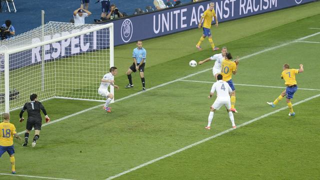 Sebastian Larsson (met rugnummer 7) was in 2012 de laatste Zweed die scoorde op een EK.