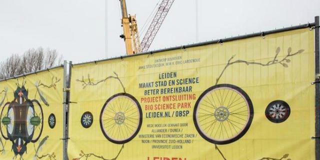 Project Ontsluiting Bio Science Park gekleurd door enorm bouwdoek