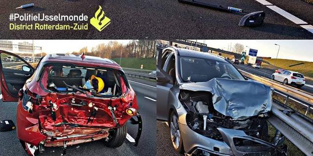 Bestuurder bekneld na ongeluk op A16
