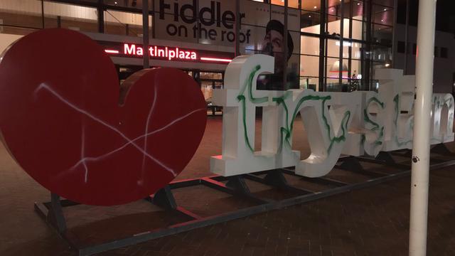 Friese selfiespot in Groningen beklad met groene verf