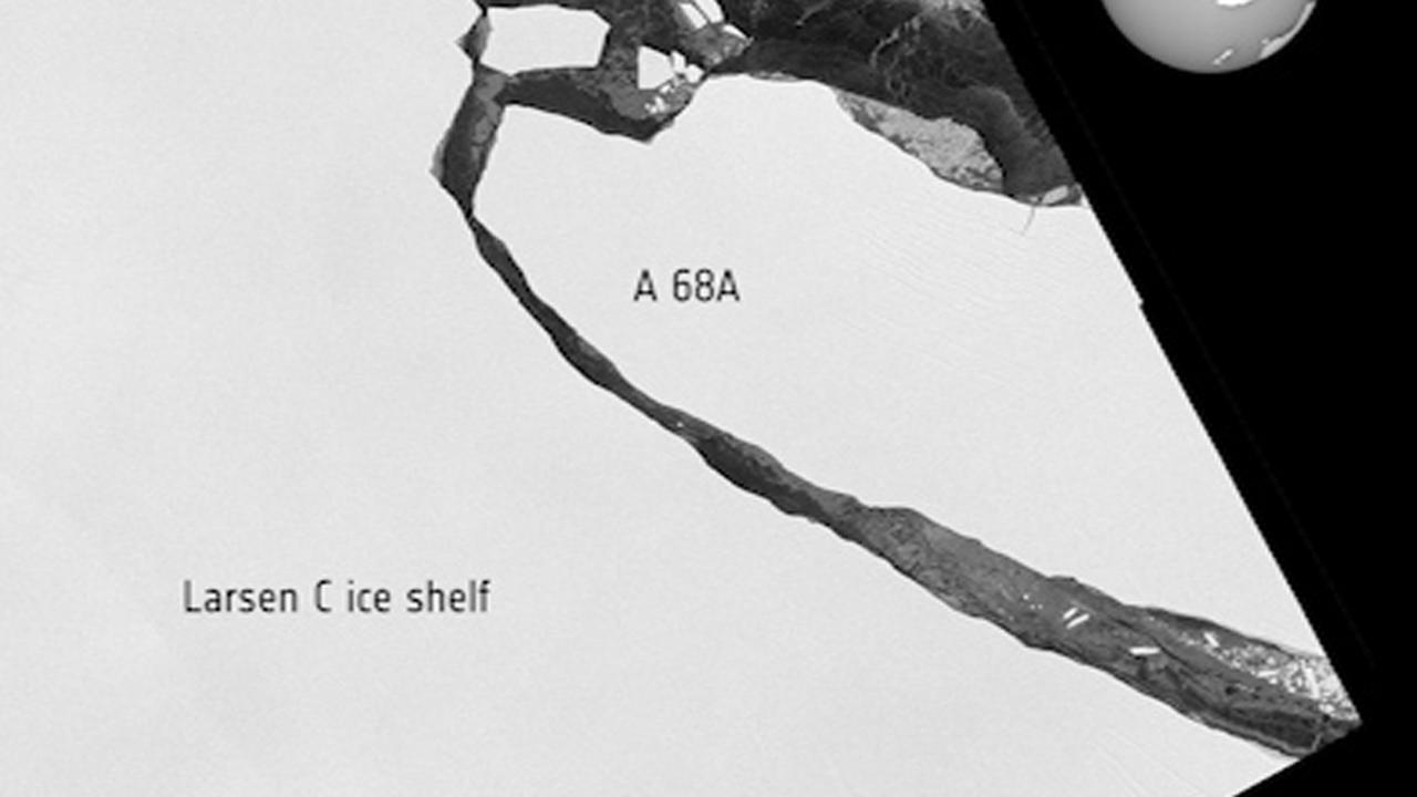 Satellietbeelden van afgebroken ijsberg bij Zuidpool