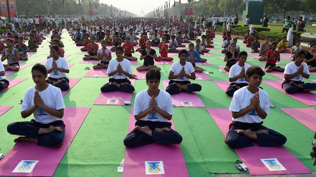Indiërs houden massale yogasessie in straten New Delhi