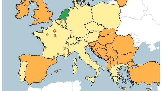 Griekse eilanden op 'oranje' en andere reisadviezen voor Europa