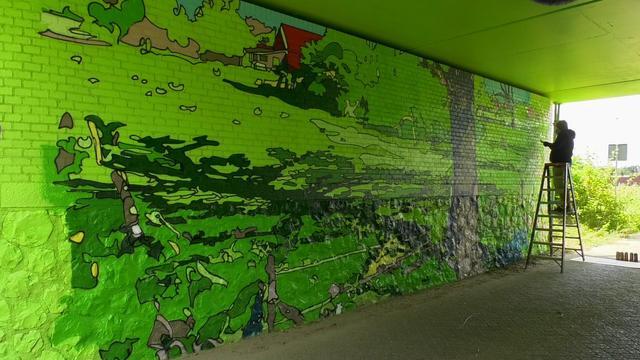 Belgische kunstenaar maakt muurschuldering Van Gogh in de Spoortunnel