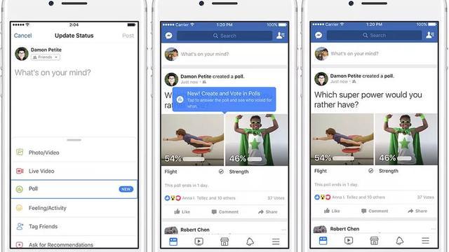 Facebook brengt pollfunctie uit met ondersteuning voor gifjes