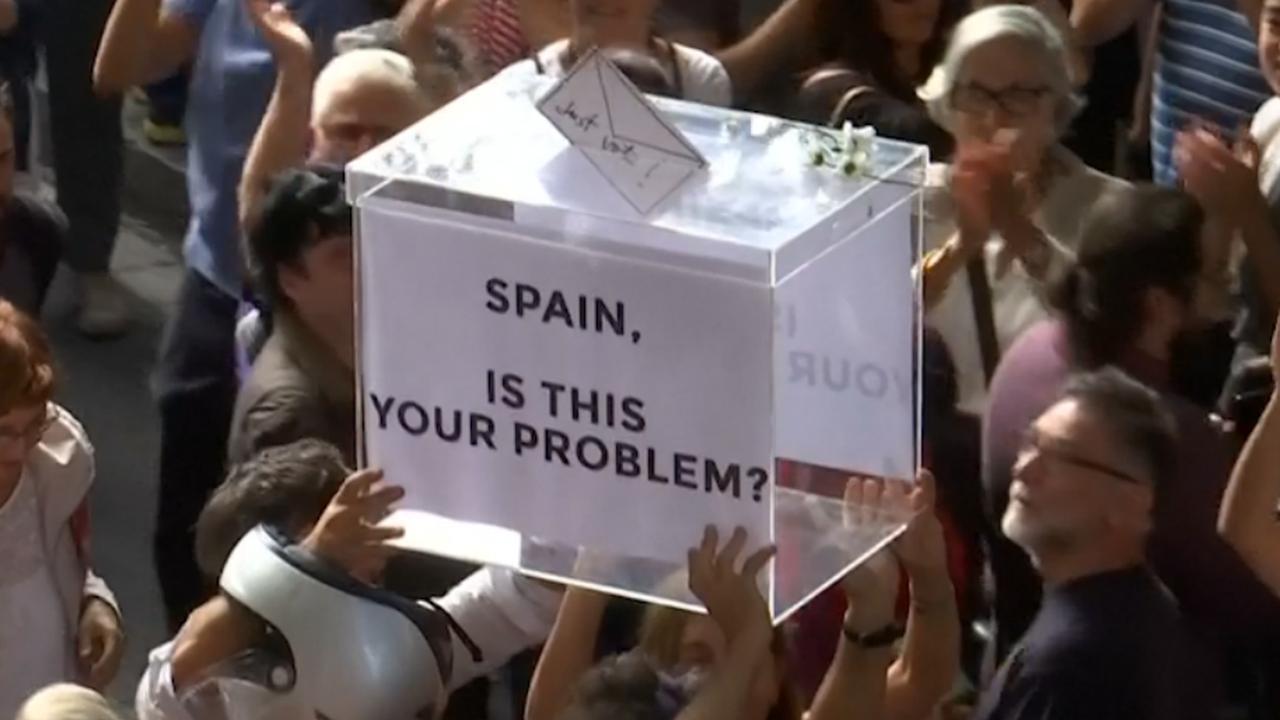 Demonstratie in Barcelona om arrestatie leden Catalaanse regering