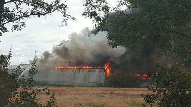 Grote brand in bollenbedrijf Hillegom