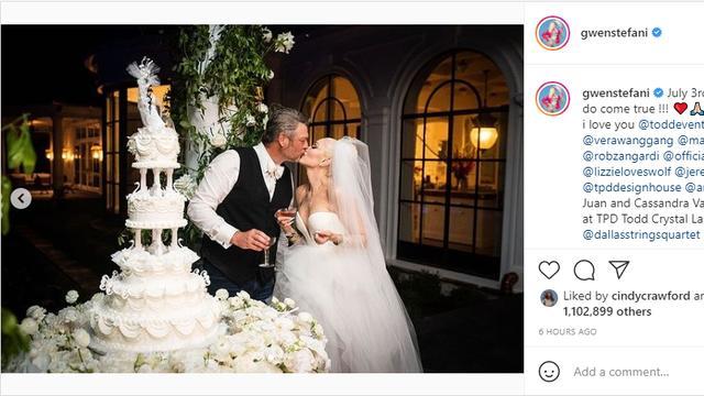 Op Instagram deelt de zangeres foto's van de bruiloft. Bron: Instagram/Gwen Stefani