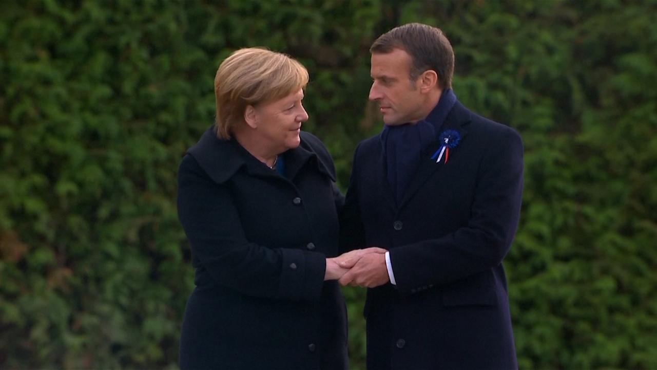 Merkel en Macron herdenken einde Eerste Wereldoorlog