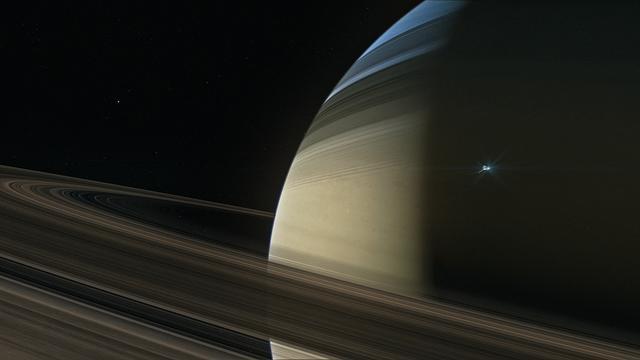 Grote stofstormen gezien op maan van Saturnus