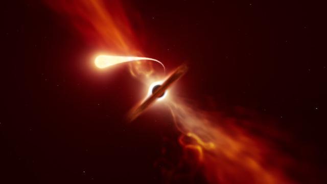 Astronomen zien hoe zwart gat ster opslurpt als 'spaghettisliert'