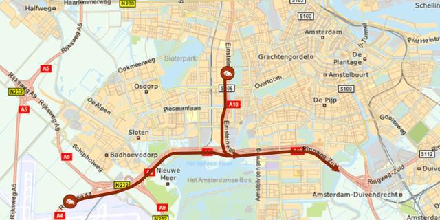 Meer dan een uur vertraging op de A10 Zuid door ongeval