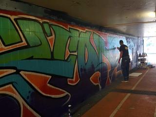 Werk werd door vandalen overgeschilderd