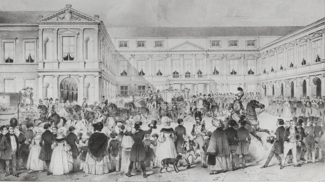 Koning Willem I verlaat Paleis Noordeinde op weg naar het Binnenhof tijdens Prinsjesdag in 1839.
