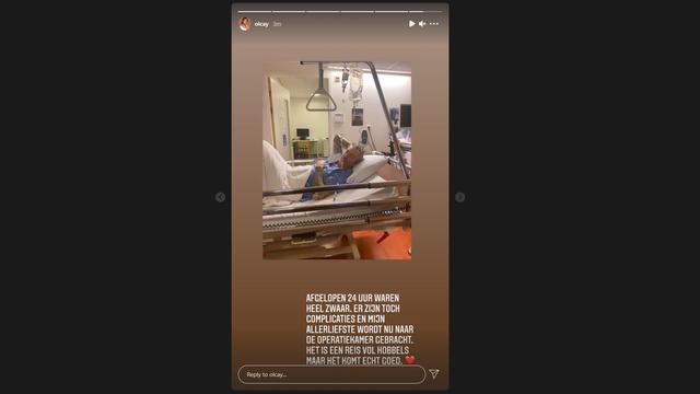 Olcay Gulsen laat in een Instagram Story weten dat Ruud de Wild weer geopereerd moet worden. (Foto: Instagram/Olcay Gulsen)