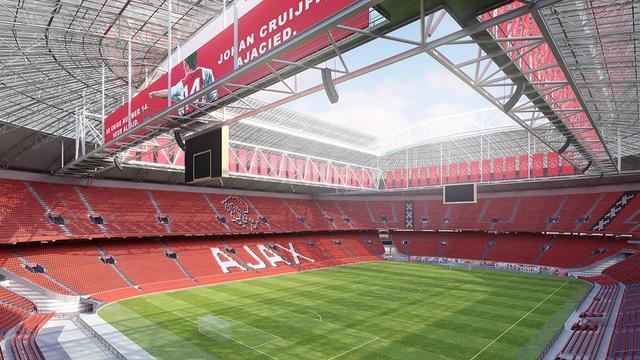 Tribunes Arena vanaf 2018 in clubkleuren Ajax
