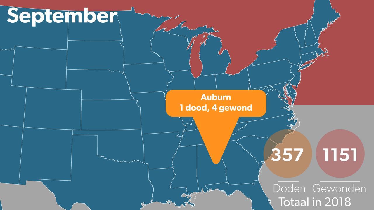 Alle massaschietpartijen van de maand september in de VS