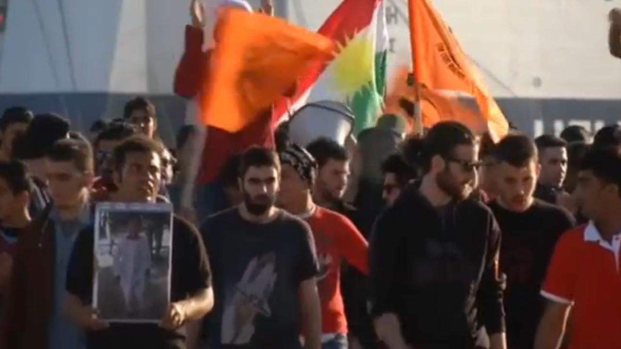 Vluchtelingen demonstreren tegen Turkse-Europese deal
