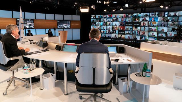 Het IOC-congres wordt via videoverbindingen gehouden.