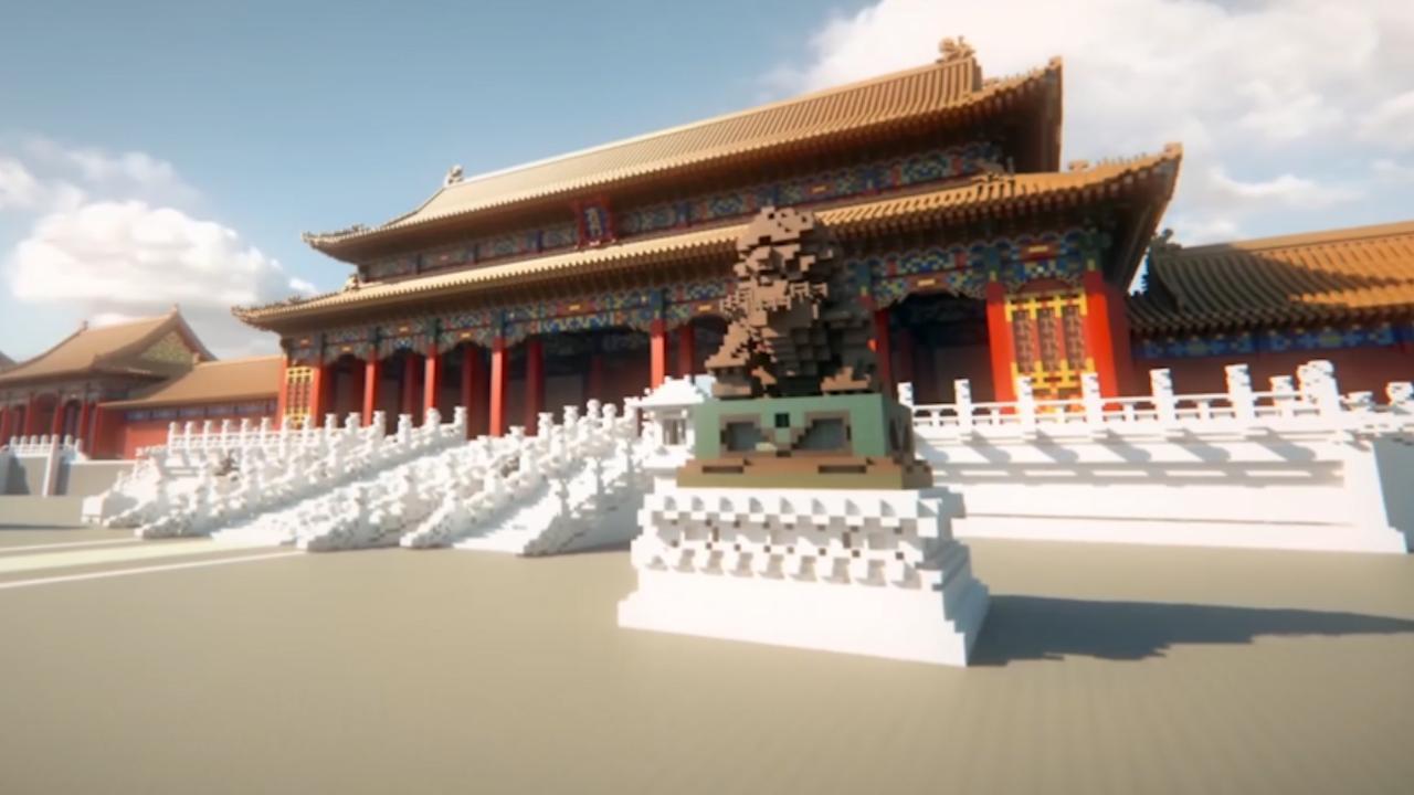 Verboden Stad Beijing nagemaakt in Minecraft