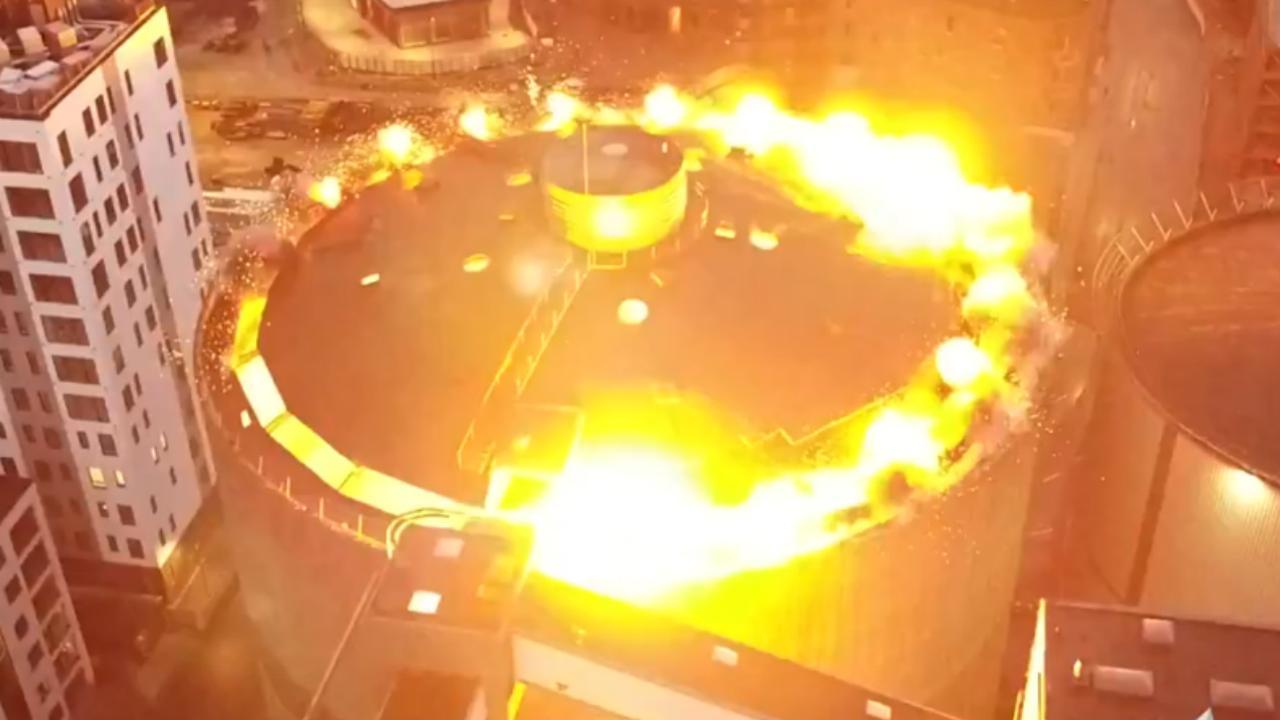 Drone filmt spectaculaire gecontroleerde ontploffing van silo in Aalborg